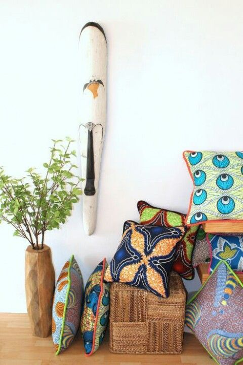 a few exotic touches with green african wax fabrics for upstairs.