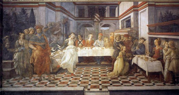 Fra Filippo Lippi. Banchetto di Erode. 1462 - 1465. Prato, Duomo. (Affresco)
