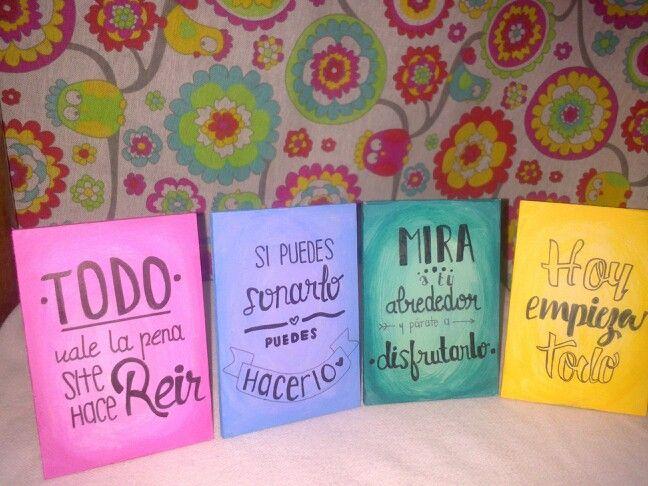 Cuadritos pintados con frases