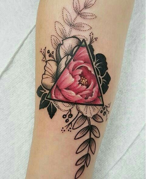 ink, tattoo, flower, rose, triangle