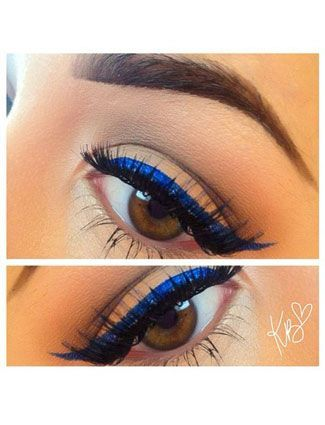 Swapping your black liner for a royal blue puts a modern twist on a classic.| 20 Beauty Hacks Every Girl Should Know!