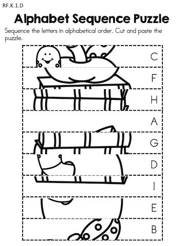Alphabet Sequence Puzzle - Cut and paste alphabet sequencing puzzle - Part of the Back to School Kindergarten Language Arts Worksheets