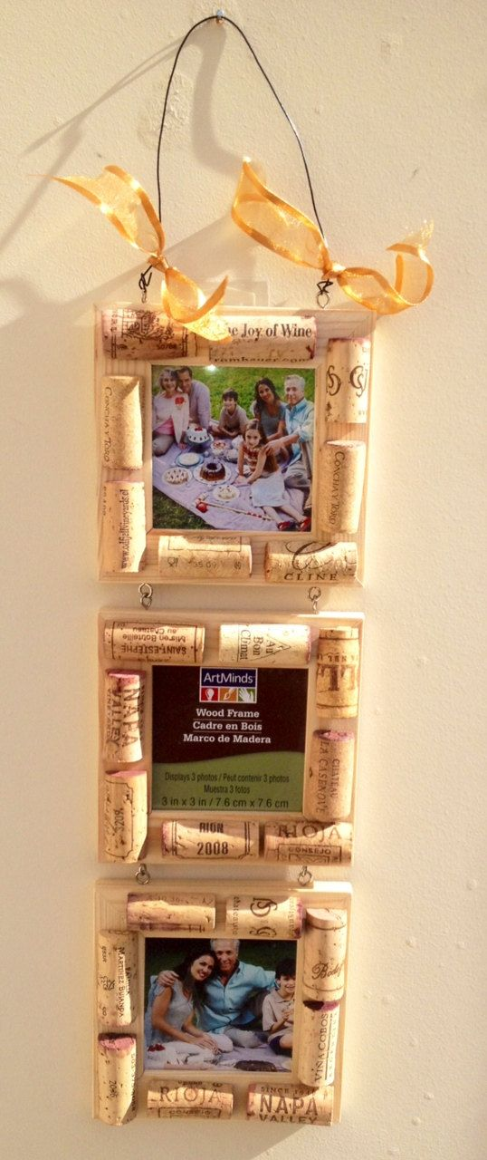 Wine Cork Frame  by Etsy Maxplanation Photos, $12.00 Three 3 inch x 3 inch / 7.6 cm x 7.6 cm frames hooked together.
