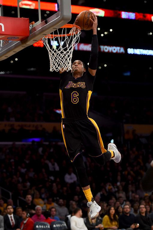 . Los Angeles Lakers guard Jordan Clarkson (6) grabs the pass and dunks the ball during their NBA basketball game against the Miami Heat at the Staples Center in Los angeles, Friday, January 6, 2017. (Photo by Hans Gutknecht, Los Angeles Daily News/SCNG)