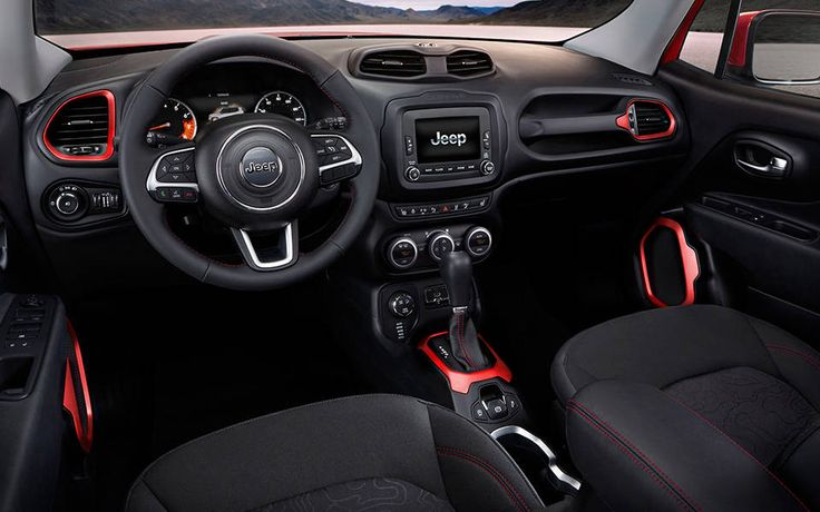 2015 Jeep Renegade Interior | MODERN, everything about this is hip and cool | We love the color contrast | Read the full review
