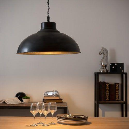 Lampadario nero stile industriale in metallo effetto anticato D 56 cm…