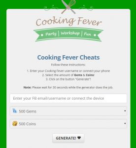cheat codes for cooking fever