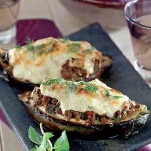 Stuffed aubergines with minced meat (Melitzanes papoutsakia) - Find recipe here. http://www.icookgreek.com/en/recipes/dishes/item/stuffed-aubergines-with-minced-meat?category_id=283