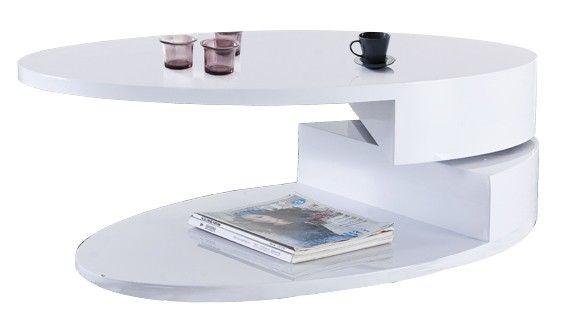 Table basse ovale amovible coloris blanc laqué