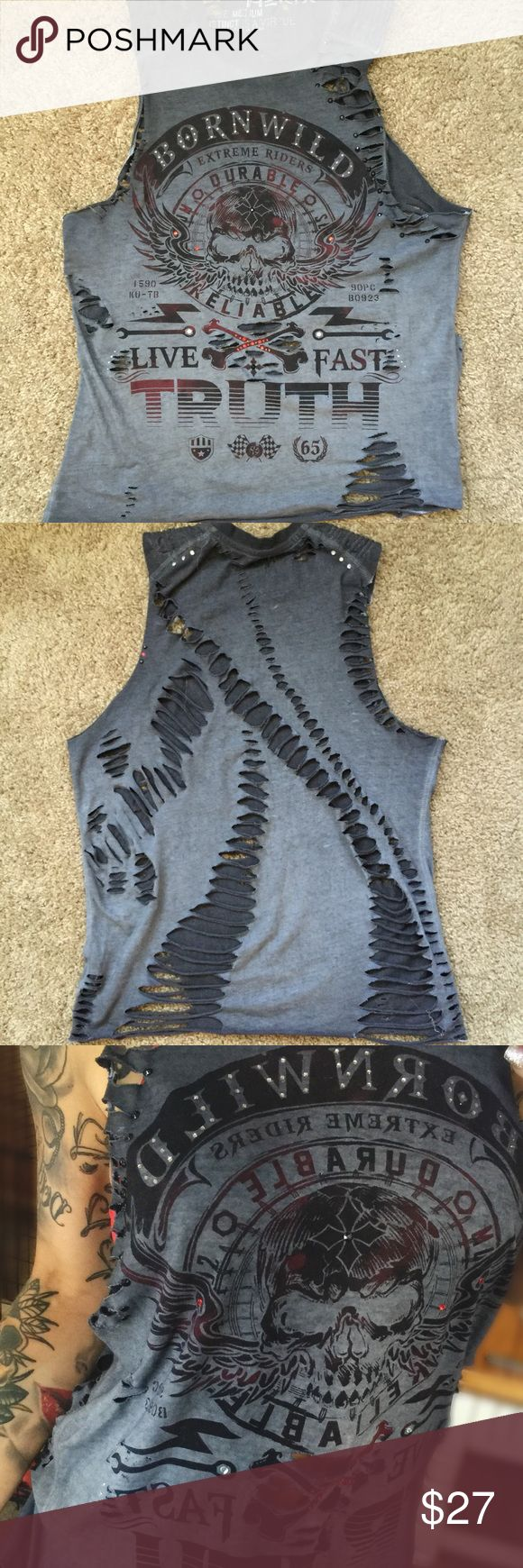 """NWOT Helix custom cut up revamped tshirt this Helix tank is brand new without tags. it's gray and black gradient and says """"Born Wild"""" and """"Live Fast"""" on the front. it was cut up and embellished by me, so there is only ONE LIKE IT. completely custom. CUSTOM REVAMP'D LIFE CLOTHING! SIZE MEDIUM/LARGE. tags: #helix #affliction #buckle #embellished  Tops Tank Tops"""