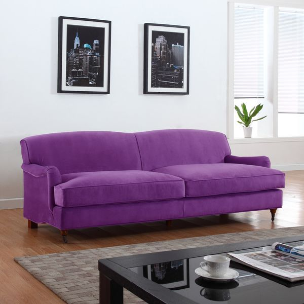 Mid Century Classic And Traditional Soft Microfiber Sofa Living Room  Furniture, Color Blue, Grey, Purple (Blue)