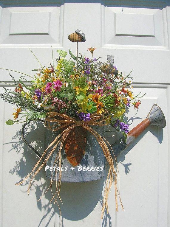 Country Rustic Floral Watering Can Door ArrangementPrimitive Bumble Bees Wreaths