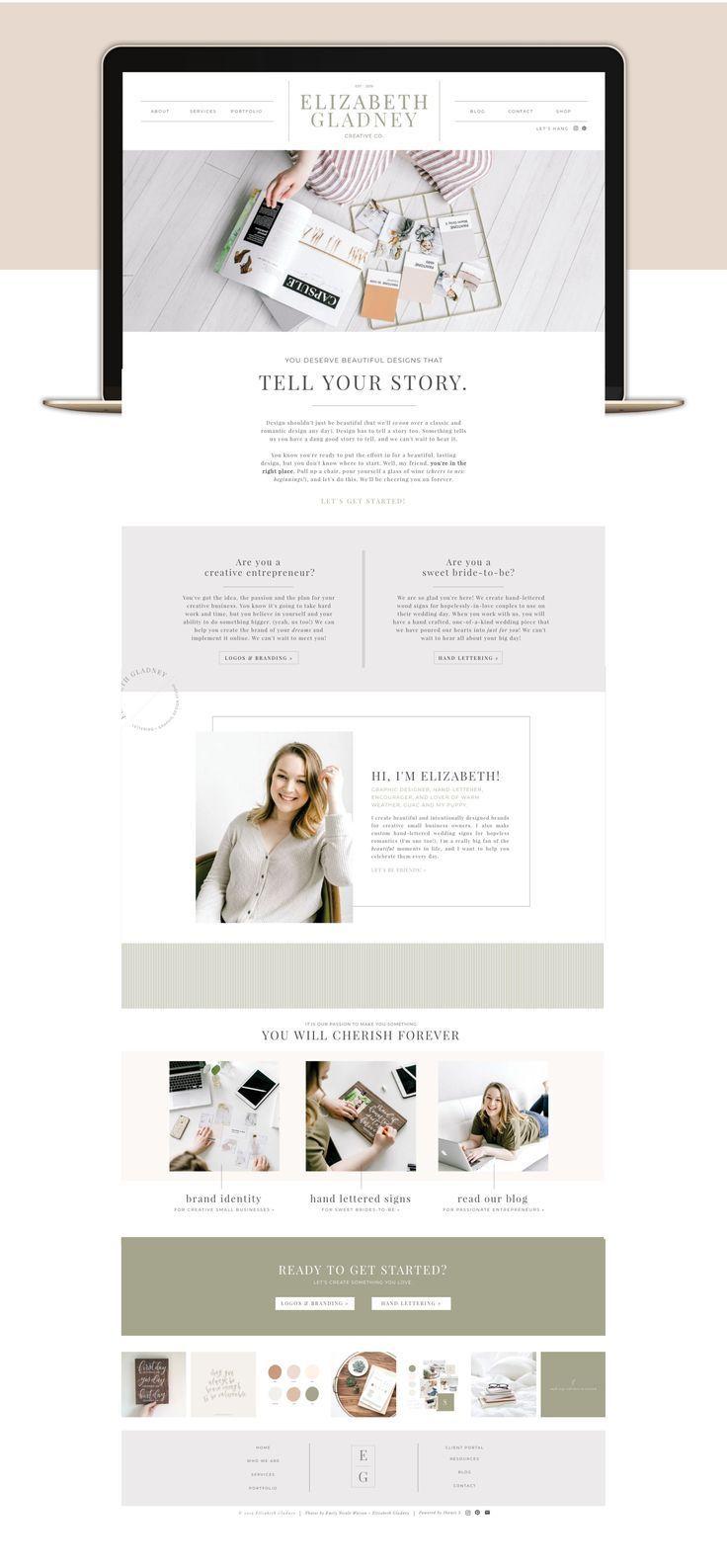 Home Page Web Design For Elizabeth Gladney Creative Co Website Design Website Design Inspiration Websi Clean Web Design Homepage Design Squarespace Design