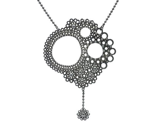ANNA ATTERLING, necklace, oxidized sterlingsilver. Item 1011363. Contemporary – Saturday 22 March 2014.