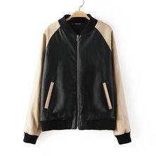2014 New Design mulheres jaqueta de couro falso Tricot malha emendado Patchwork Tops Casual magro zíper Outerwear Tops AG83(China (Mainland))