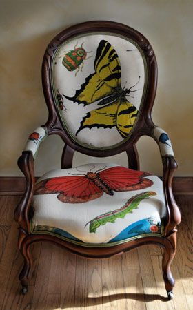 This is the front of the Butterfly Chair that Noelle created with a Victorian Frame and South African Prints. http://noelschairs.tumblr.com/