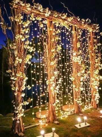 luxury wedding arch with hanging bulbs