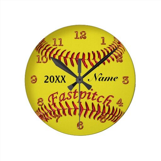 """Personalized Softball Clocks with Your NAME and YEAR or short Text typed into Text Boxes beneath the """"Personalize it"""" section. Cool Fastpitch Softball Gifts for Girls for nice Softball Room Decor and decorating ideas. ALL Softball Gifts CLICK LINK: http://www.zazzle.com/littlelindapinda/gifts?cg=196194074123766050&rf=238147997806552929 ALL of Little Linda Pinda Designs CLICK HERE: http://www.Zazzle.com/LittleLindaPinda*/"""