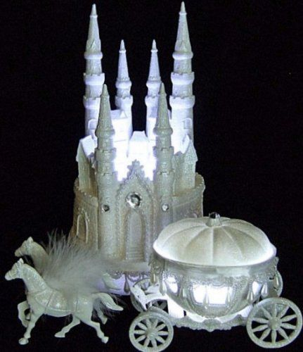 Cinderella Castle Coach Wedding Cake Topper - Fairytale Castle Wedding Cake Topper with Horse Drawn Pumpkin Coach / http://www.weddingfairytaledreams.com