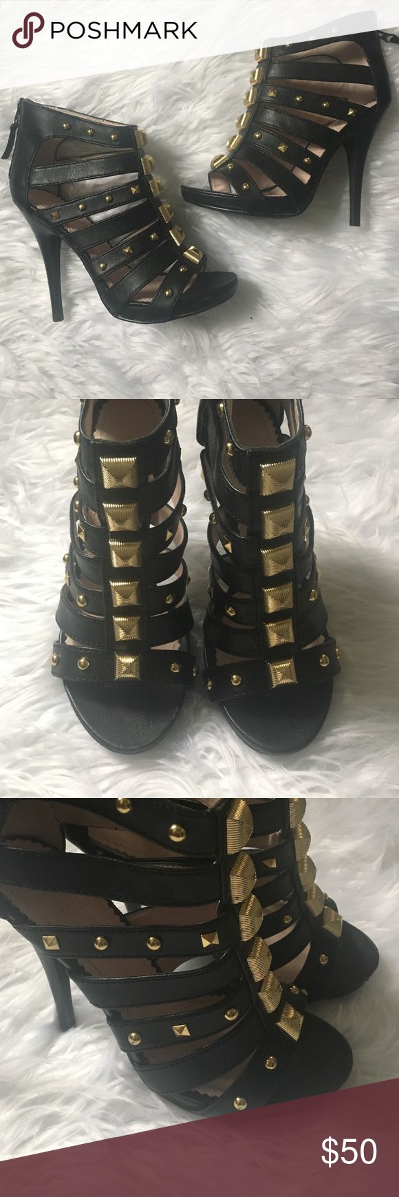 Colin Stuart Black Heels with Gold Hardware Size 6 Colin Stuart Shoes Heels