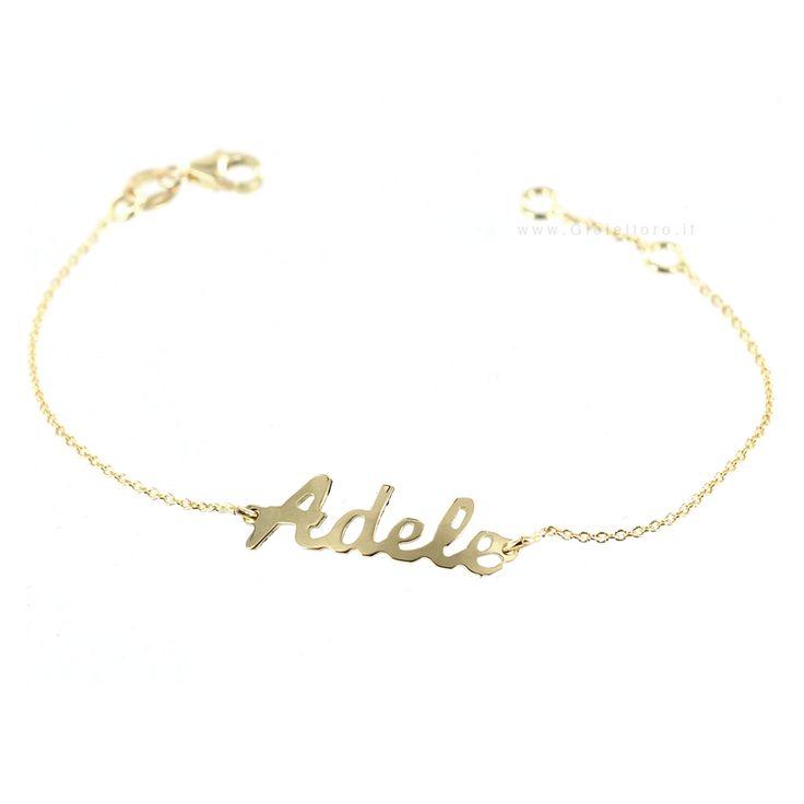 Bracciale da bambino personalizzato con nome in oro giallo