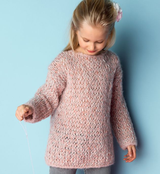 Knitted pull for girls mod le tunique fille mod les enfant phildar kinderkleding - Liseuse en laine a tricoter ...