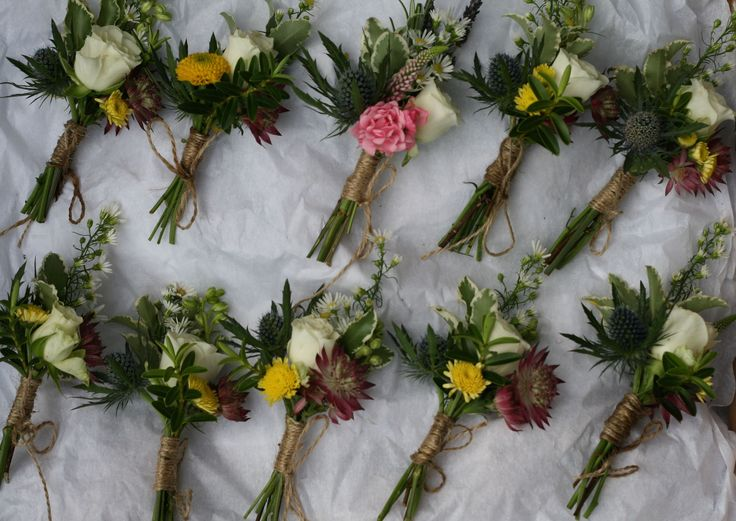 Rustic buttonholes for a July wedding at Wedderburn Castle. Contact The Stockbridge Flower Company, Edinburgh for more details