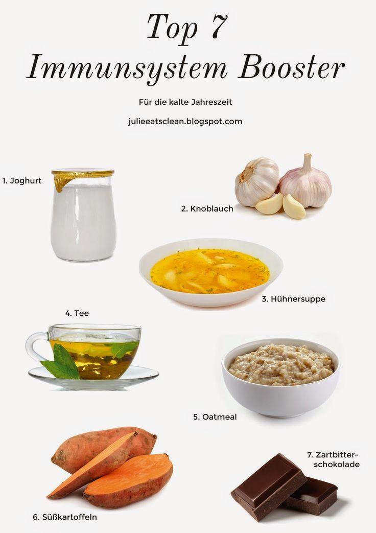 Top 7 Immunsystem Booster und ein Vitamin-C Smoothie, um die Abwehrkräfte zu stärken.