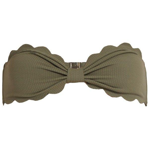 Marysia Swim Antibes scallop-edged bandeau bikini top ($84) ❤ liked on Polyvore featuring swimwear, bikinis, bikini tops, bandeau bikini tops, army green bikini, olive green bikini top, bandeau top bikini and bandeau tops
