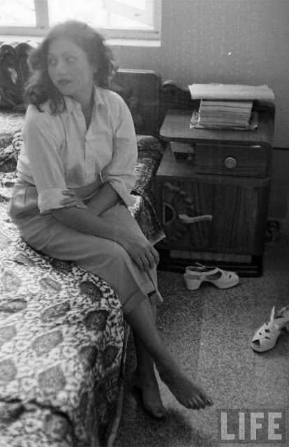 Movie Actress Madhubala in Her Room - Photographed by James Burke in 1951 - Old Indian Photos