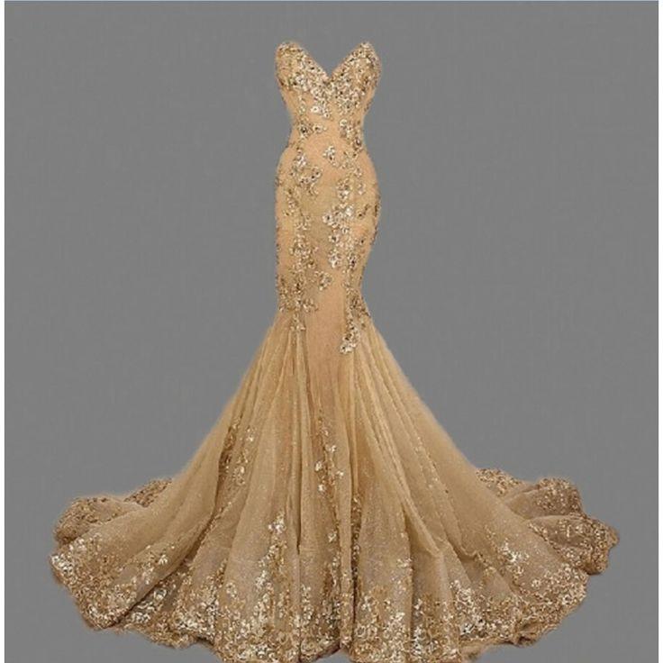 Sweetheart sirena abiti da sera lunghi oro prom dress paillettes appliqued pageant gown vestido de festa robe de soiree de festa