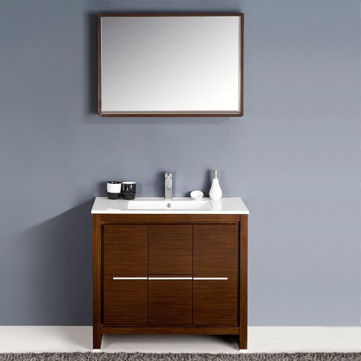 "Fresca Allier 36"" Wenge Brown Modern Bathroom Vanity w/ Mirror"
