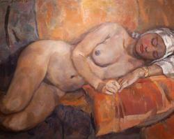 Laying nude with dark skin