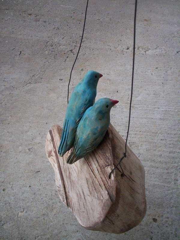 Love Birds On a Rustic Wooden Cloud Ceramic Mixed Media Sculpture Art. Popielnik via Etsy.