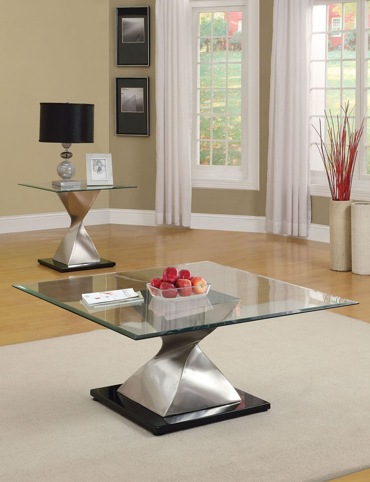 Shelley Chrome Glass Top Coffee/End Table Set