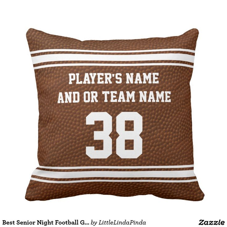 Best Senior Night Football Gift Ideas PERSONALIZED FOOTBALL Pillows CLICK: http://www.zazzle.com/best_senior_night_football_gifts_personalized_throw_pillow-189354538916625653?CMPN=shareicon&lang=en&social=true&view=113829903915989082&rf=238147997806552929 Custom Senior Night Football Gifts for kids to adults: http://www.zazzle.com/littlelindapinda/gifts?cg=196532339247083789&rf=238147997806552929 Personalized Football Bedroom Decor for boys and football man cave decoration.