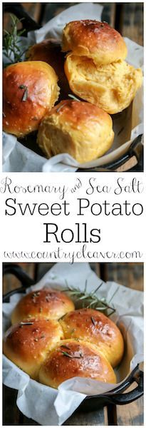 Rosemary and Sea Salt Sweet Potato Rolls - www.countrycleaver.com