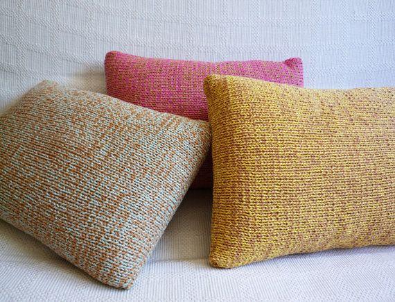 Knitted Pillows - Caramel + Tea Green