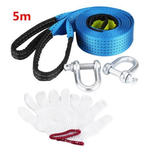 8t Towing Pull Rope Strap Heavy Duty Road Recovery Cable W/ Hooks 5 Meters Lj As Picture Show Polyester + Carbon Steel Fit For Below 8 Tons Cars 826965783365