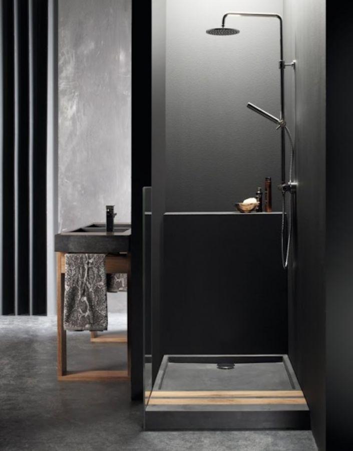 This dramatic black bathroom was completed by baths2go for Dramatic bathroom designs