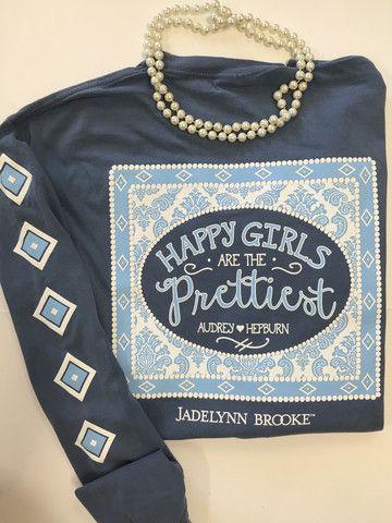 Jadelynn Brooke Happiest Girls Are The Prettiest Tee- Blue Jean
