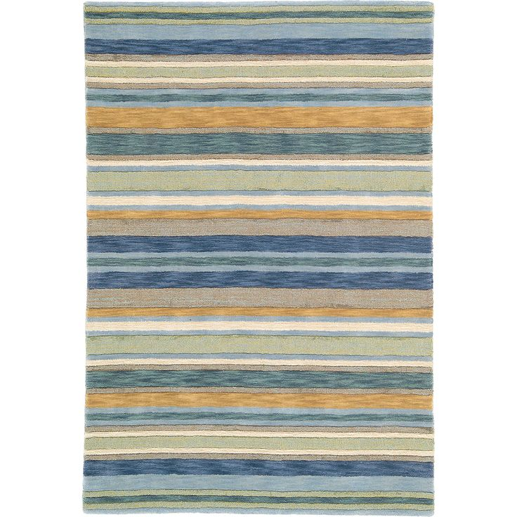 This Sheffield Stripe Rug In Sea Grass Blue Adds A Simple