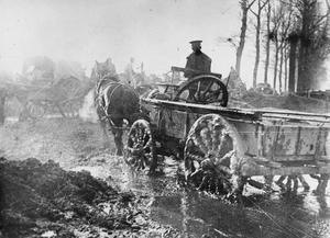 WWI, 6 Nov 1916, Somme; British transport wagons in the mud near Maricourt. ©IWM