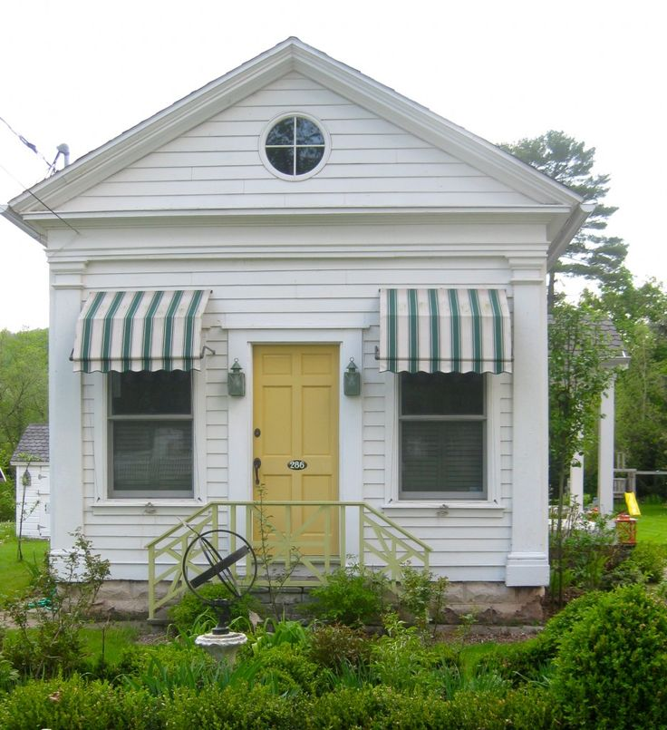 Small, with awnings! | Exterior Architecture | Pinterest