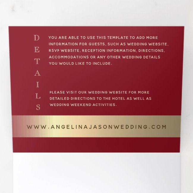 Tying The Knot Elegant Red And Gold Wedding Photo Tri Fold Invitation Wedding Gold Tri Photo Re Tri Fold Wedding Invitations Wedding Photos Elegant Red