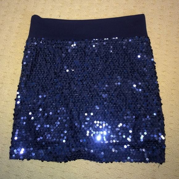 Host Pick. Sequin going out skirt Dark blue covered in sequins. Has a soft cloth waist band and also has an under skirt. 92% polyester and 8% spandex. Perfect for going out and getting noticed. New Years sequin skirt. love culture Skirts