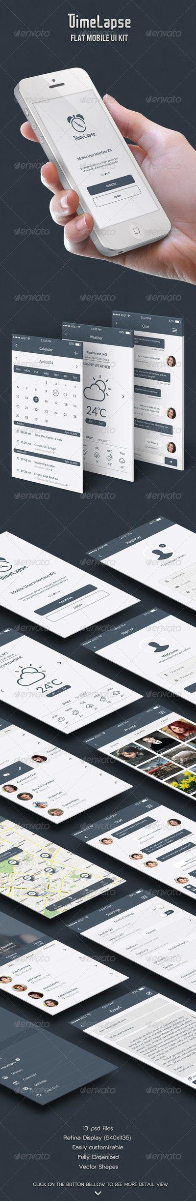 Timelapse - Flat Mobile UI Kit by dant3x.deviantart.com on @deviantART