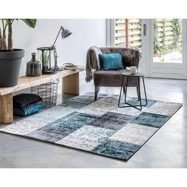 Home Living vloerkleed Retro - antraciet/blauw - 80x150 cm   Leen Bakker