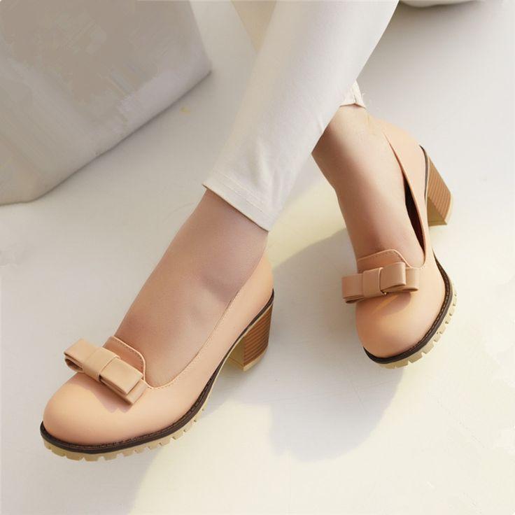 Ucuz 2016 bahar yeni rahat ayakkabılar yüksek topuklu kalın kaymaz ayakkabı yay ayakkabı büyük boy ayakkabı ile ücretsiz kargo, Satın Kalite kadın pompaları doğrudan Çin Tedarikçilerden: