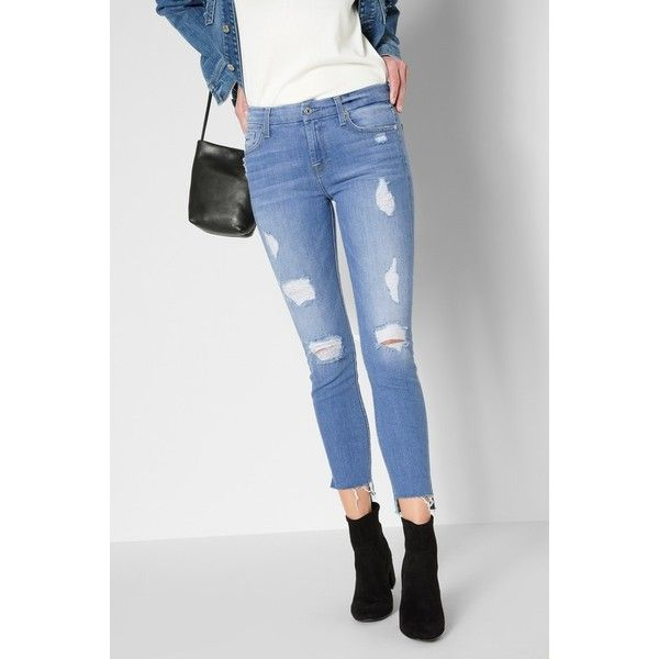 7 For All Mankind Ankle Skinny With Destroy Step Hem In Melbourne Sky ($219) ❤ liked on Polyvore featuring jeans, denim, melbourne sky, pants, skinny ankle jeans, ripped skinny jeans, super skinny jeans, vintage skinny jeans and light blue ripped skinny jeans
